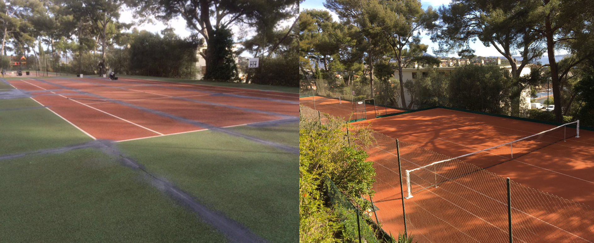 renovation of a tennis court in synthetic clay tennis du midi. Black Bedroom Furniture Sets. Home Design Ideas